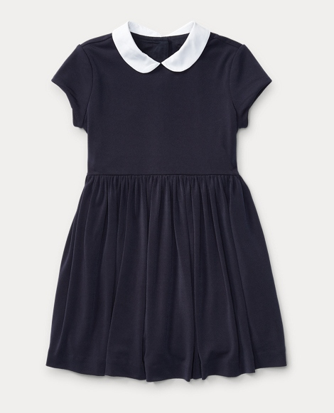 Contrast-Collar Crepe Dress