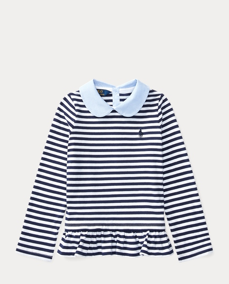Contrast-Collar Striped Top