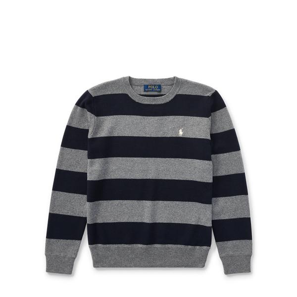 Ralph Lauren Striped Cotton Sweater Gents Heather Multi L