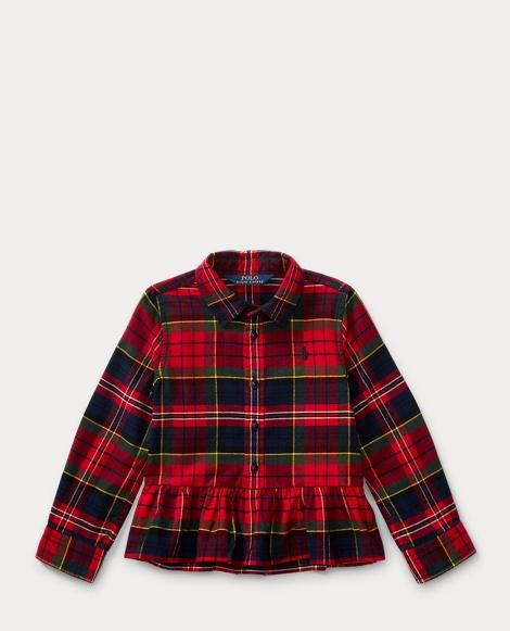 Tartan Cotton Peplum Shirt
