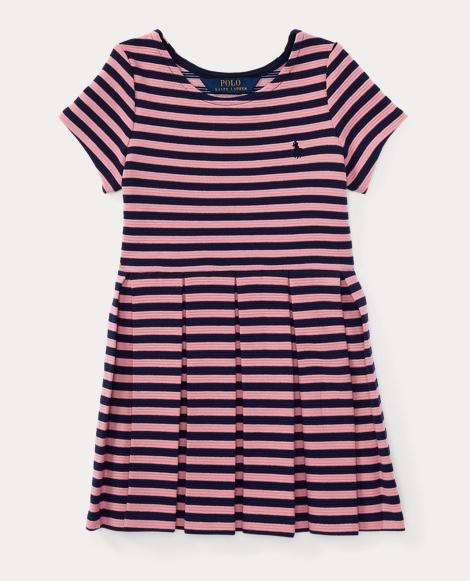 Striped Pleated Ponte Dress