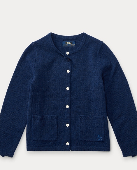 Bow-Trim Wool Cardigan