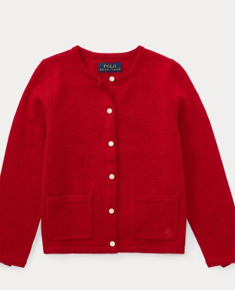 Bow-Trim Wool Cardigan