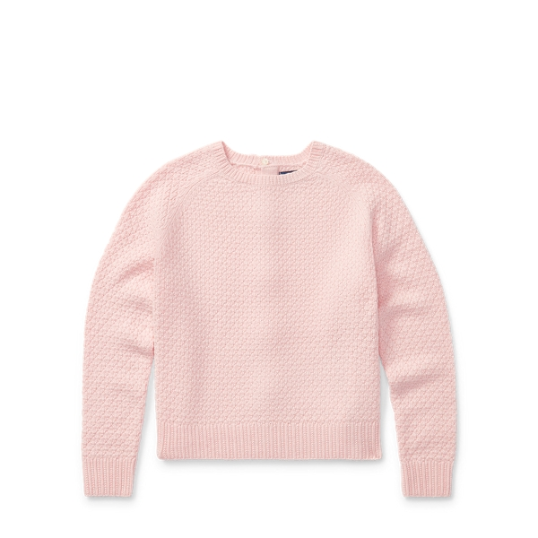 Ralph Lauren Seed-Stitched Bow-Back Sweater Pink S