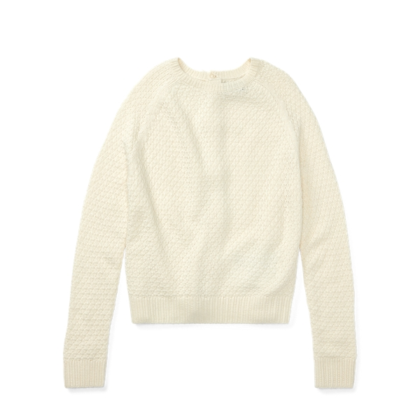 Ralph Lauren Seed-Stitched Bow-Back Sweater Cream S