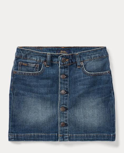 Button-Front Denim Skirt