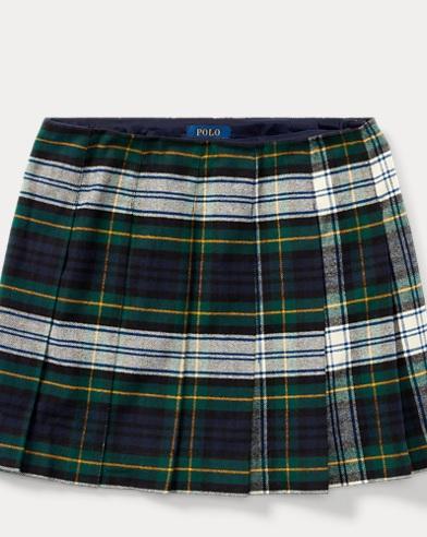 Tartan-Print Pleated Skirt