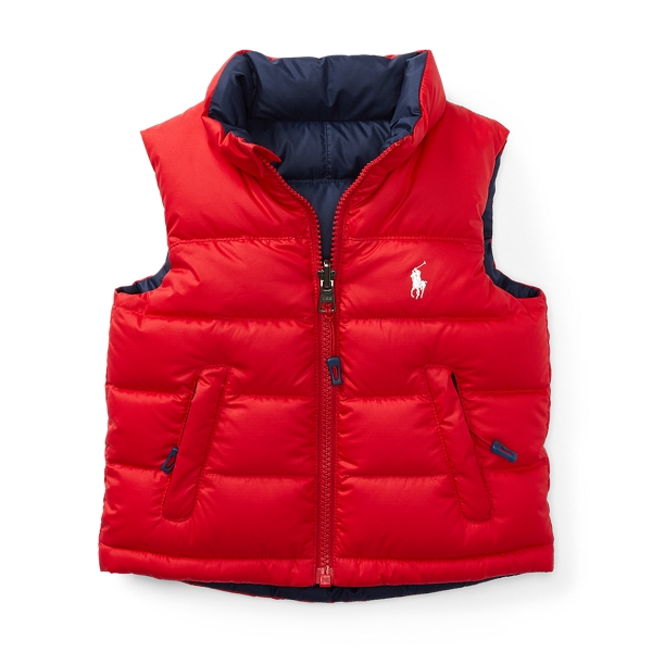 Ralph Lauren Reversible Quilted Down Vest Cruise Red 9M
