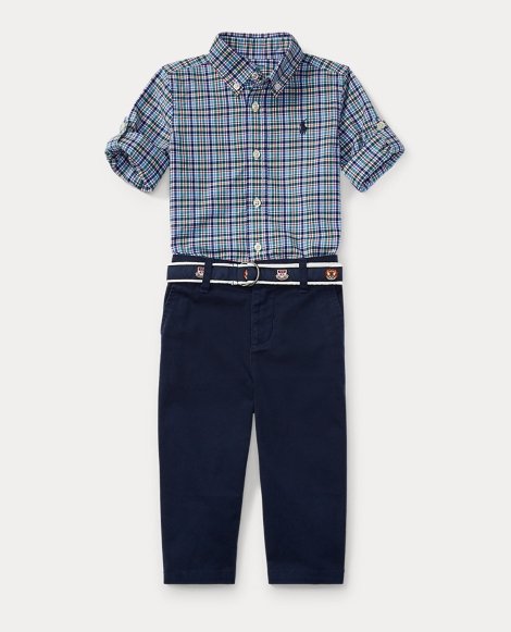 Plaid Shirt, Belt & Pant Set