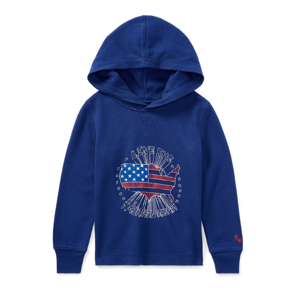 Ralph Lauren Waffle-Knit Cotton Hoodie Fall Royal 2T