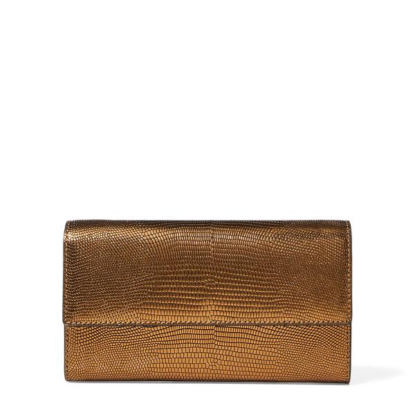 Ralph Lauren Lizard-Embossed Chain Wallet Gold One Size