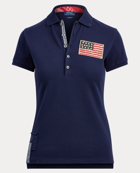 Slim Fit Americana Mesh Polo