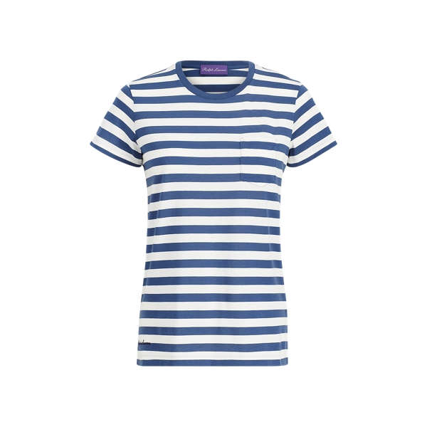 Ralph Lauren Striped Crewneck Pocket Tee Blue/White Xs