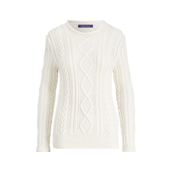 Ralph Lauren Hand-Knit Aran Sweater White Xl