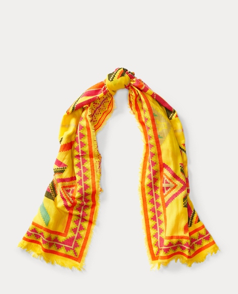 Southwestern Wool-Cotton Scarf