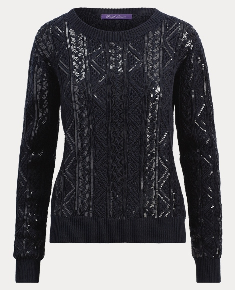 Sequined Cable Silk Sweater