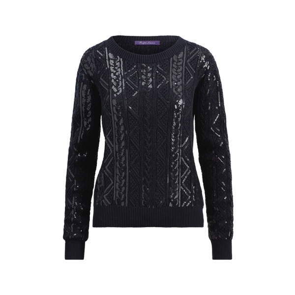 Ralph Lauren Sequined Cable Silk Sweater Navy Xs