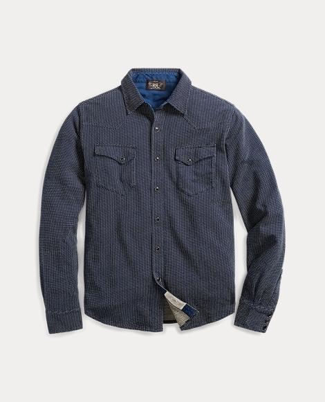 Indigo Jacquard Western Shirt