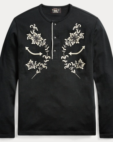 Embroidered Cotton Henley