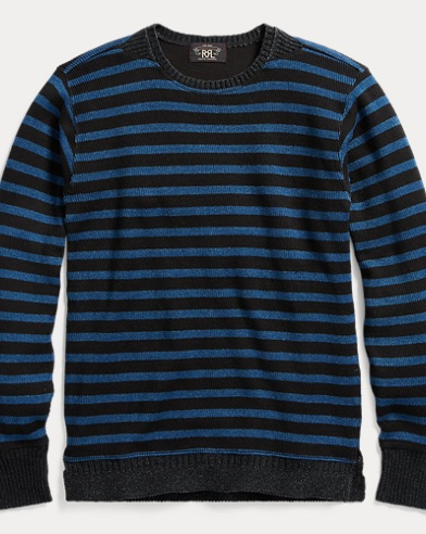 Indigo Striped Cotton Crewneck