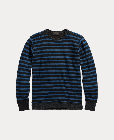 Indigo Striped Cotton Crewneck