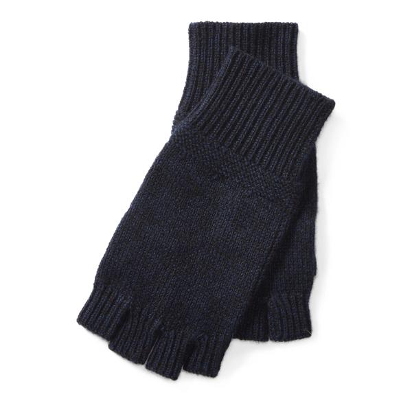 Ralph Lauren Cashmere Fingerless Gloves Navy One Size