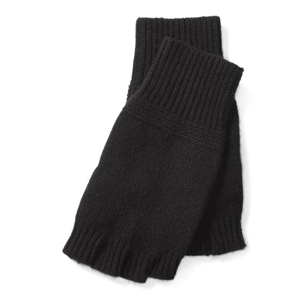 Ralph Lauren Cashmere Fingerless Gloves Black One Size