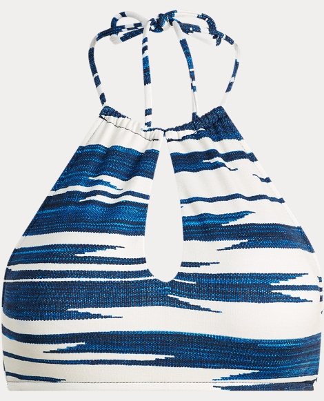 Ikat-Print Halter Bikini Top