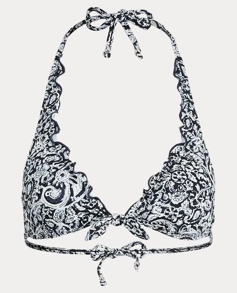 Floral-Print Halter Bikini Top