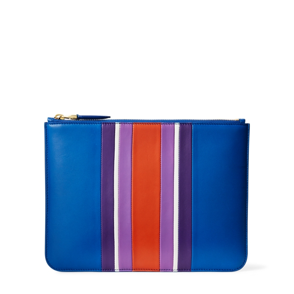 Ralph Lauren Striped Nappa Zip Pouch Cobalt Multi One Size