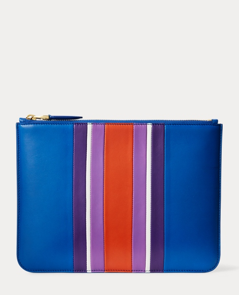 Striped Nappa Zip Pouch