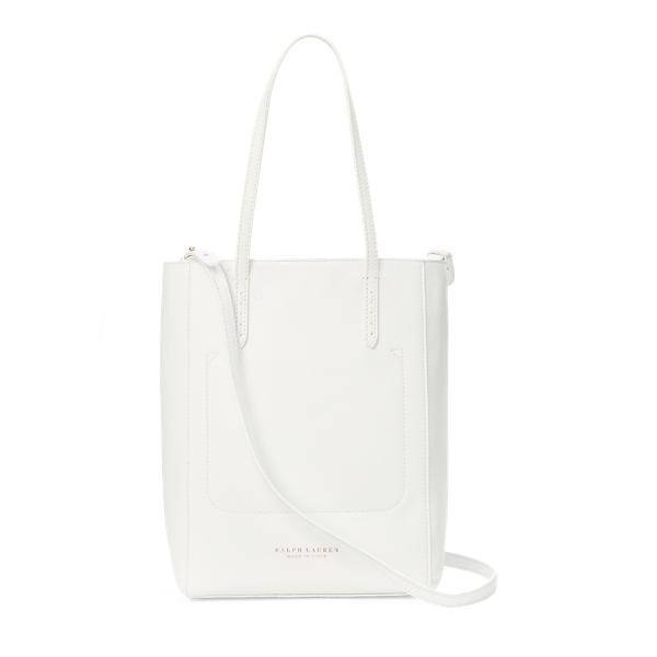 Ralph Lauren Tumbled Calf Mini Modern Tote White One Size