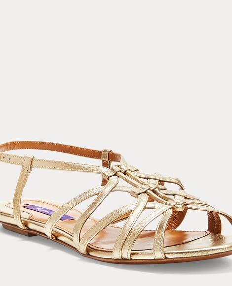 Mandel Metallic Nappa Sandal