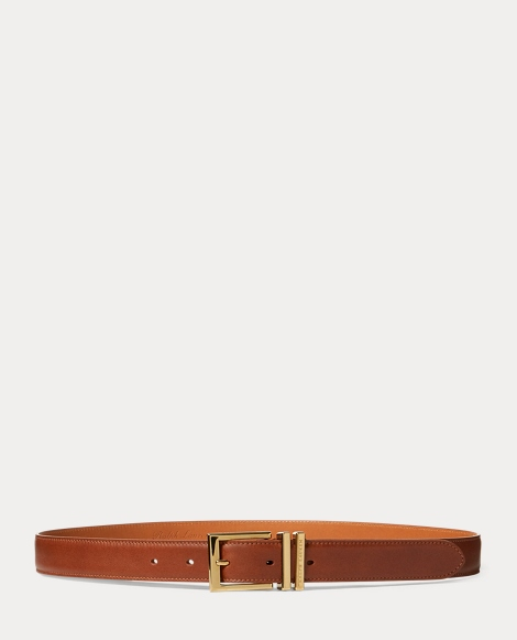 Brass-Buckle Calfskin Belt