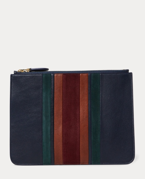 Striped Luxe Calf Zip Pouch