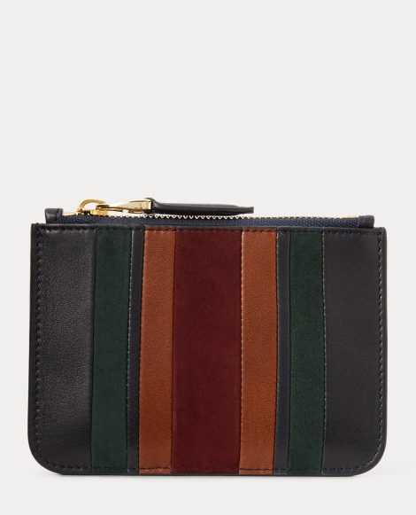 Striped Suede Mini Zip Pouch
