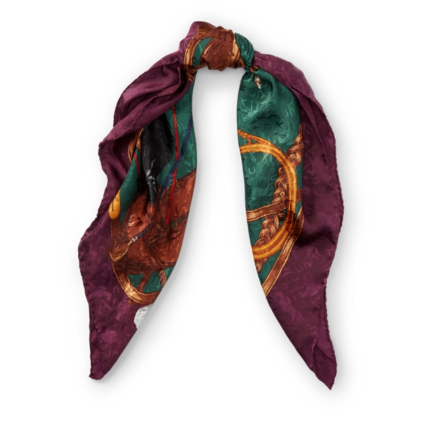 Ralph Lauren Equestrian Silk Scarf Green/Purple One Size