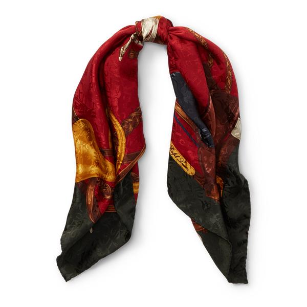 Ralph Lauren Equestrian Silk Scarf Red/Dark Green One Size