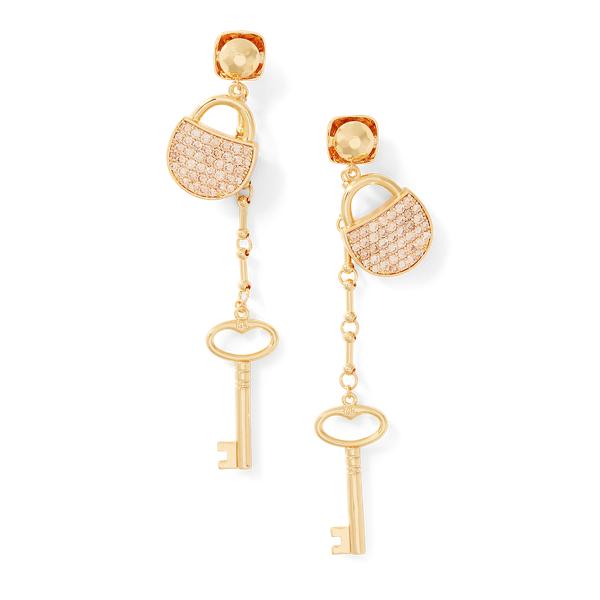 Ralph Lauren Padlock Crystal Earrings Gold/Silver One Size
