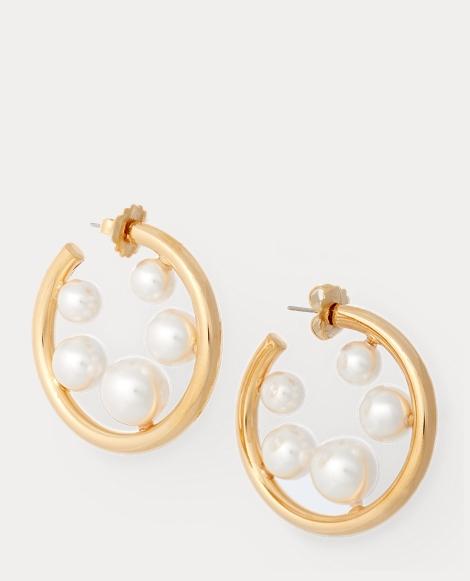Crystal Pearl Hoop Earrings