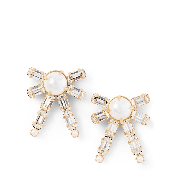 Ralph Lauren Bow Crystal Earrings White/Pearl One Size