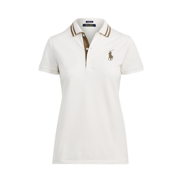 Ralph Lauren Tailored Fit Golf Polo Shirt Ivory/Loden M