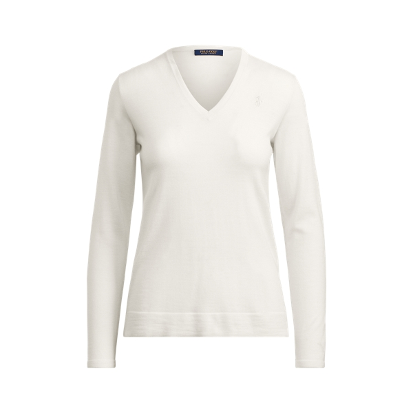 Ralph Lauren Merino V-Neck Sweater Ivory M