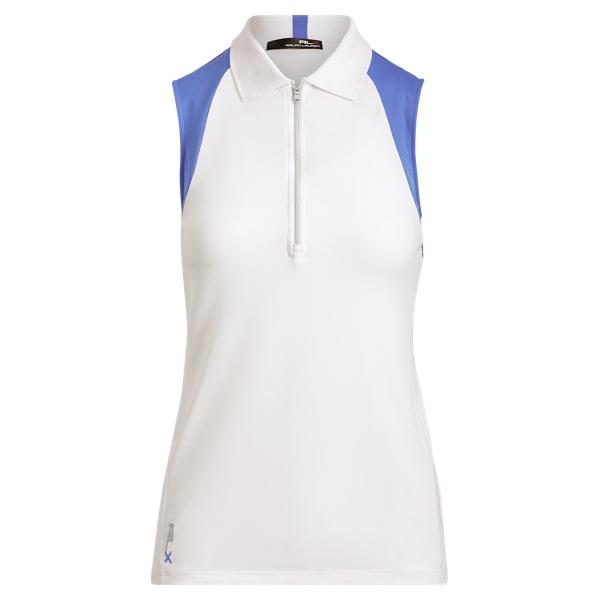 Ralph Lauren Piqué Racerback Polo Shirt Pure White/Tyler Blue Xs