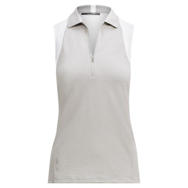Ralph Lauren Piqué Racerback Polo Shirt Grey/White Xs