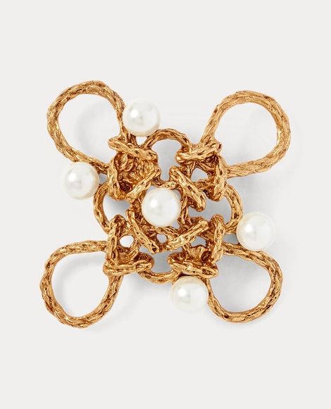 Crystal Pearl-Brass Brooch