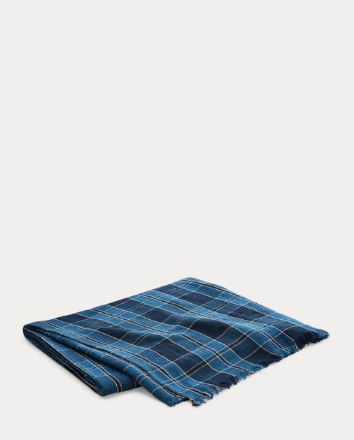 Evan Plaid Linen Throw Blanket