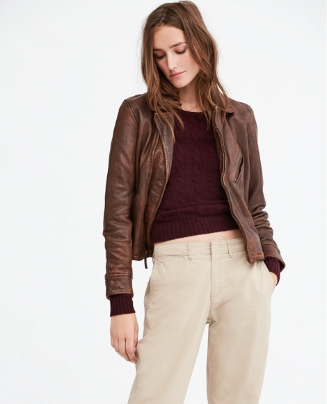 Burnished Leather Moto Jacket