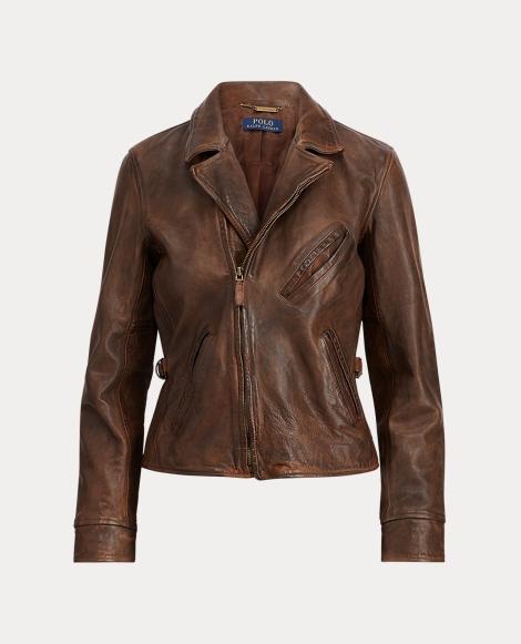 Burnished Leather Moto Jacket