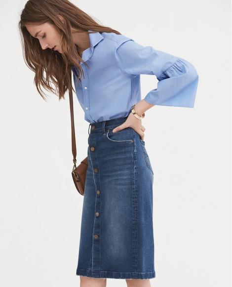 Cotton Bell-Sleeve Shirt
